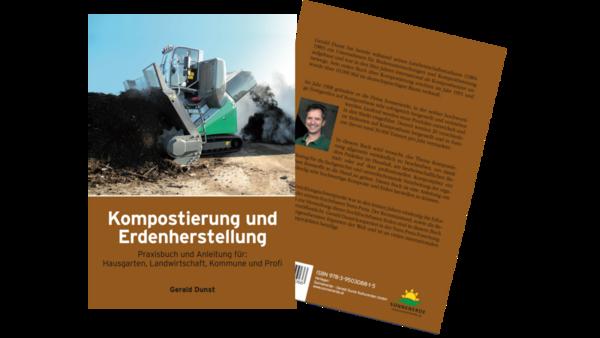 Buch Kompostierung und Erdenherstellung von Gerald Dunst, Neuauflage, Deckblatt und Rückseite