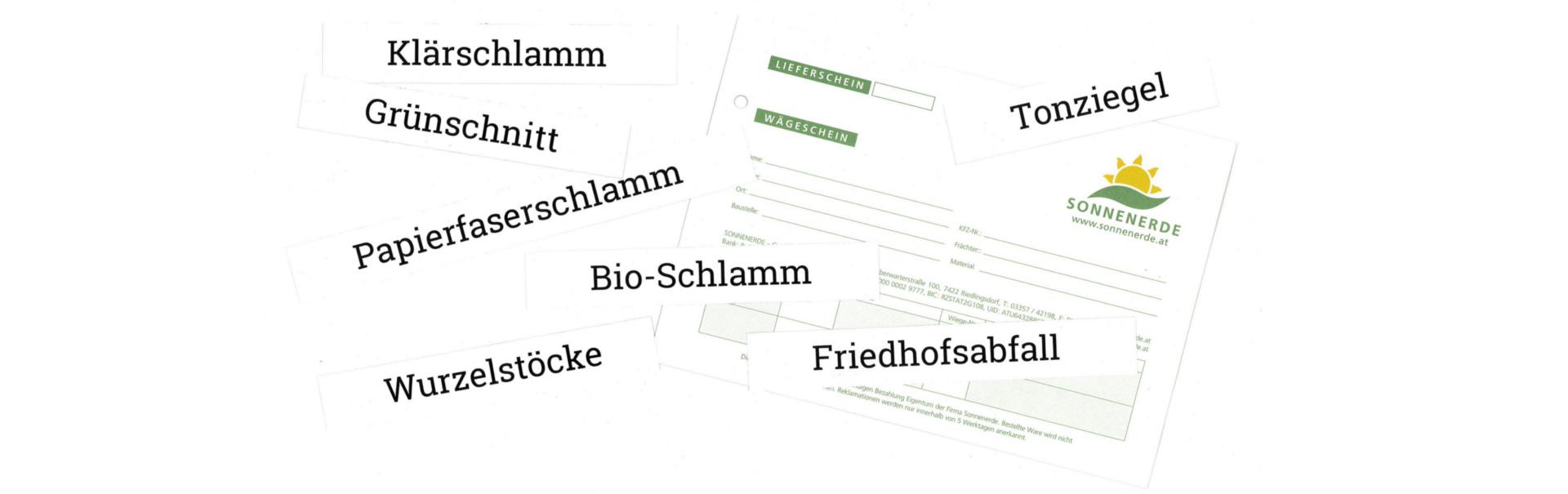 Bild vom Wiegeschein und Schriftzüge der möglichen Abfälle, welche bei Sonnenerde übernommen werden